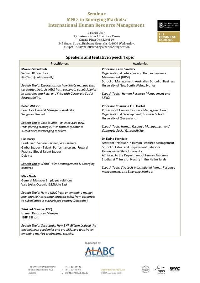 Speakers at MNCs in Emerging Markets: International Human Resource Management Seminar