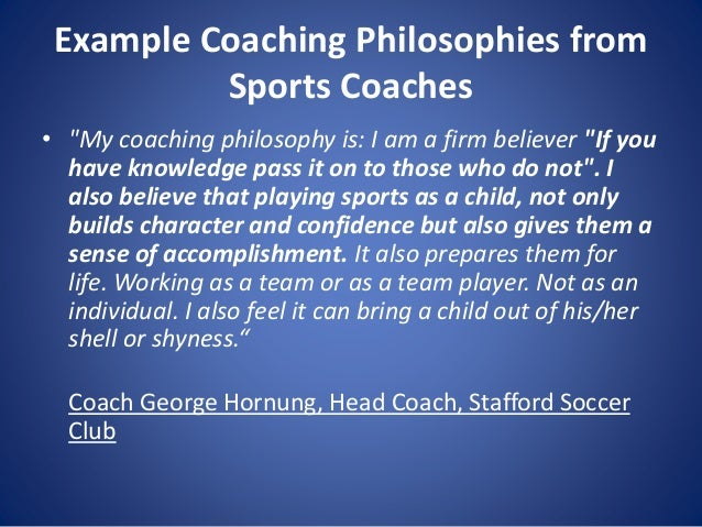 Personal coaching philosophy soccer