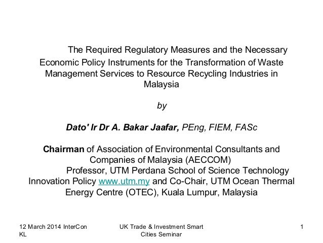 The Required Regulatory Measures and the Necessary Economic Policy Instruments for the Transformation of Waste Management ...