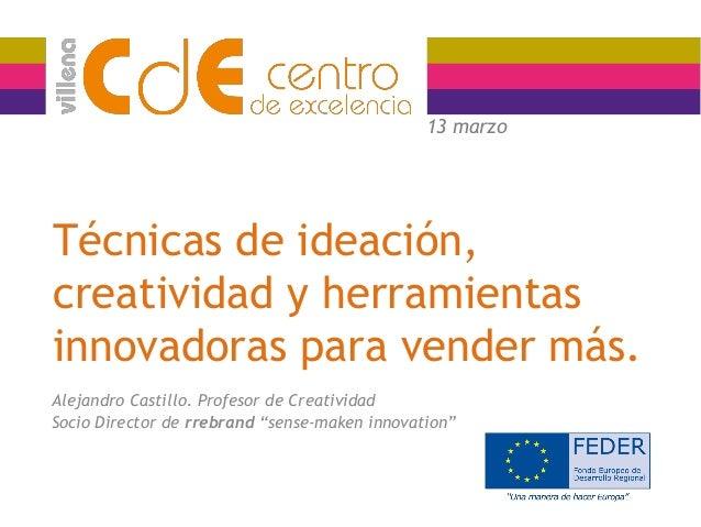 Técnicas de ideación, creatividad y herramientas innovadoras para vender más. Alejandro Castillo. Profesor de Creatividad ...