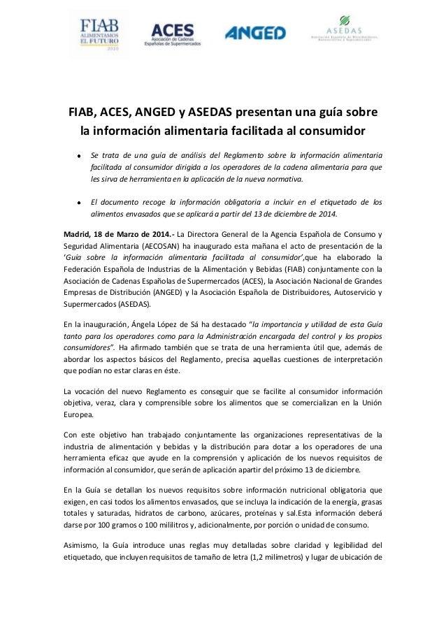 20140318 NP FIAB, ACES, ANGED y ASEDAS presentan una guía sobre la información alimentaria facilitada al consumidor