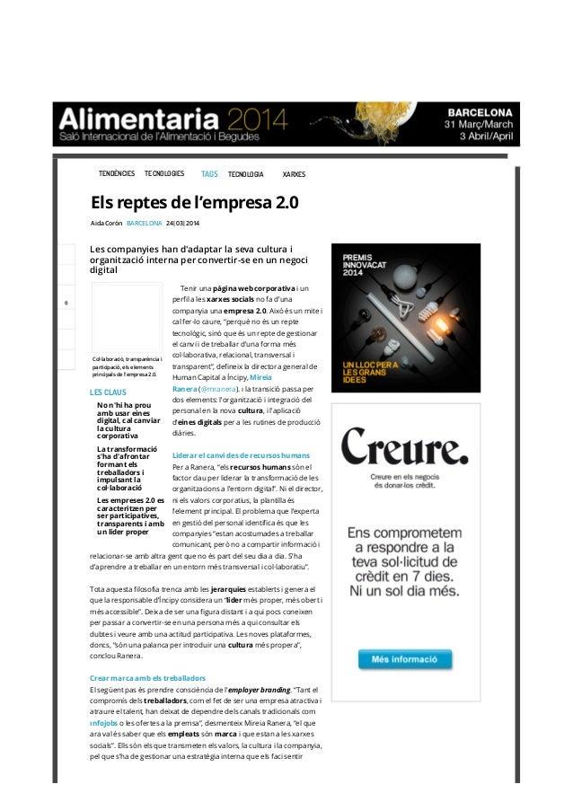 Els reptes de l'empresa 2.0 (ViaEmpresa.cat), 24.3.2014