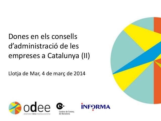 Dones en els consells d'administració de les empreses a Catalunya (II) Llotja de Mar, 4 de març de 2014