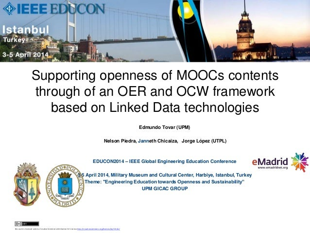 2014 04 03 (educon2014) emadrid upm supporting openness of moo cs contents through of an oer and ocw framework based on linked data technologies
