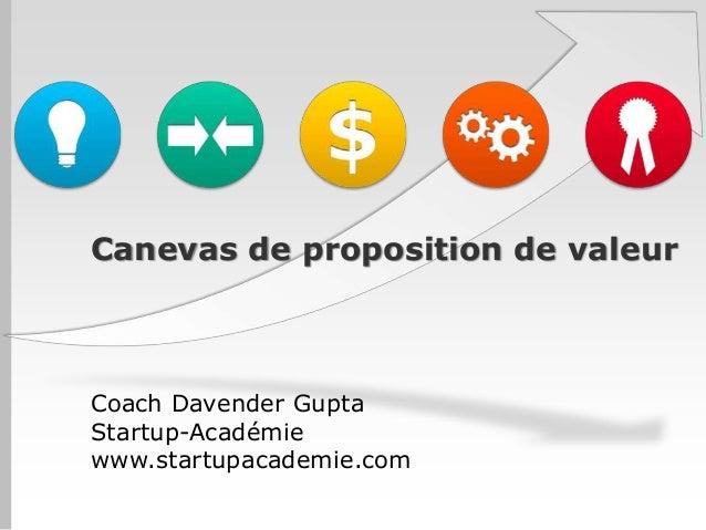 Canevas de proposition de valeur Coach Davender Gupta Startup-Académie www.startupacademie.com