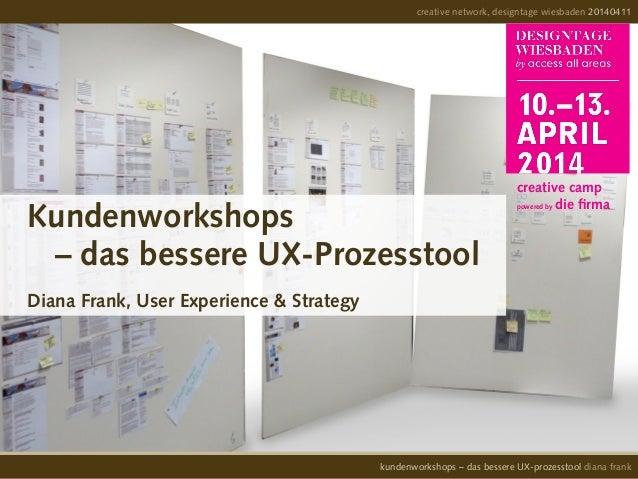 Kundenworkshops – das bessere UX-Prozesstool Diana Frank, User Experience & Strategy creative network, designtage wiesbade...