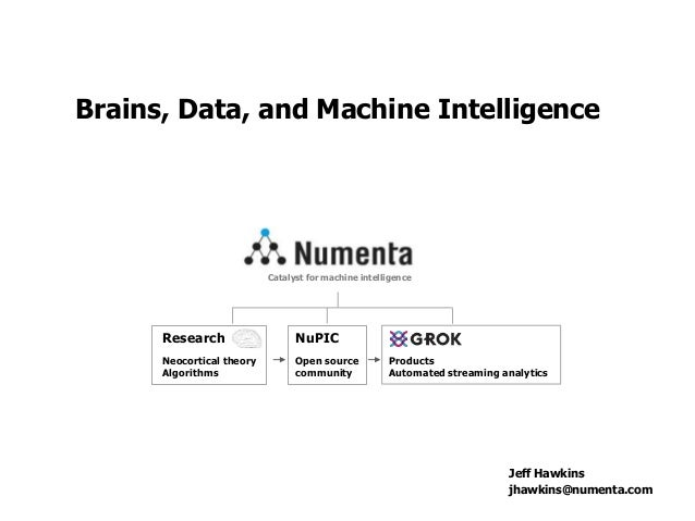 Research Neocortical theory Algorithms NuPIC Open source community Products Automated streaming analytics Catalyst for mac...