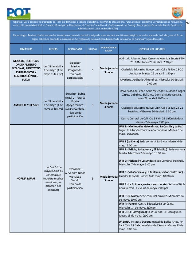 Cronograma 'Charlas temáticas POT' Cali, Colombia 2014