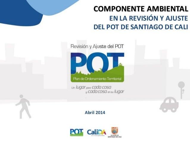COMPONENTE AMBIENTAL EN LA REVISIÓN Y AJUSTE DEL POT DE SANTIAGO DE CALI Abril 2014