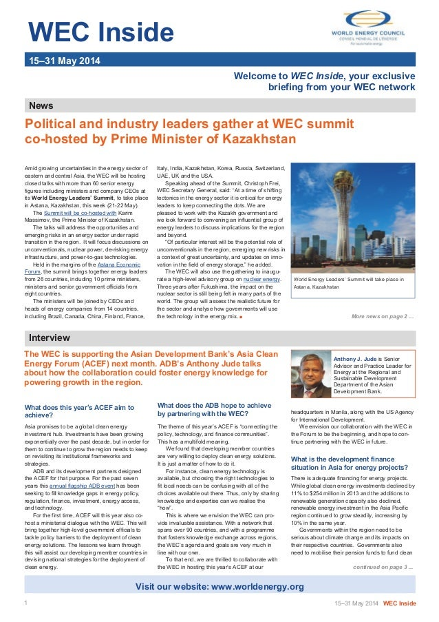 WEC Inside 15–31 May 2014 Welcome to WEC Inside, your exclusive briefing from your WEC network News Amid growing uncertain...