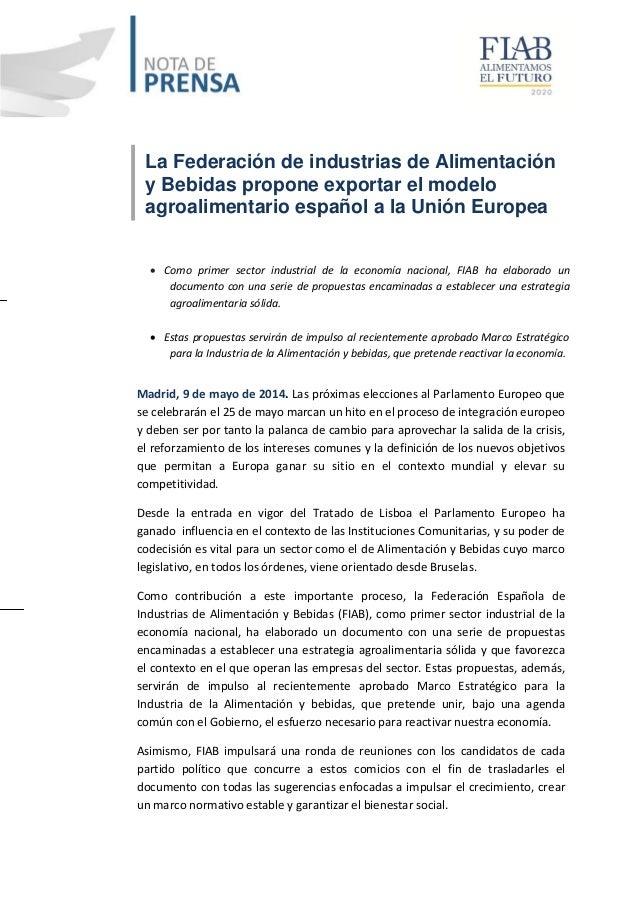 La Federación de industrias de Alimentación y Bebidas propone exportar el modelo agroalimentario español a la Unión Europe...