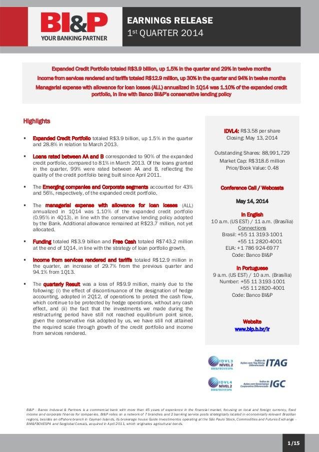BI&P- Indusval- 1Q14 Earnings Release