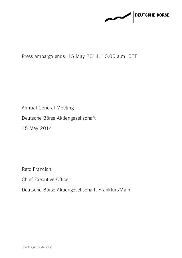 Deutsche Börse Group Annual General Meeting 2014 Speech CEO Reto Francioni