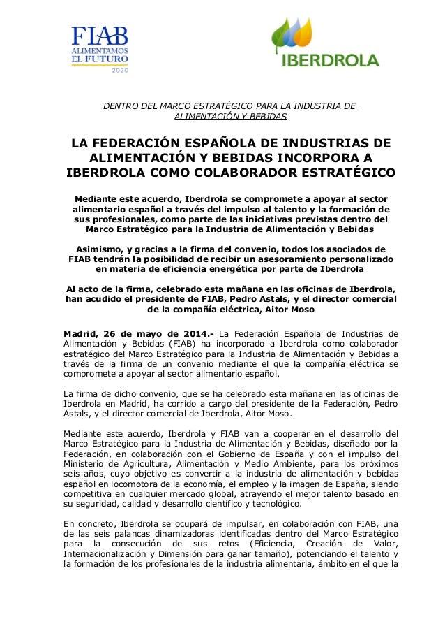 20140526 np la federación española de industrias de la alimentación y bebidas incorpora a iberdrola como colaborador estratégico