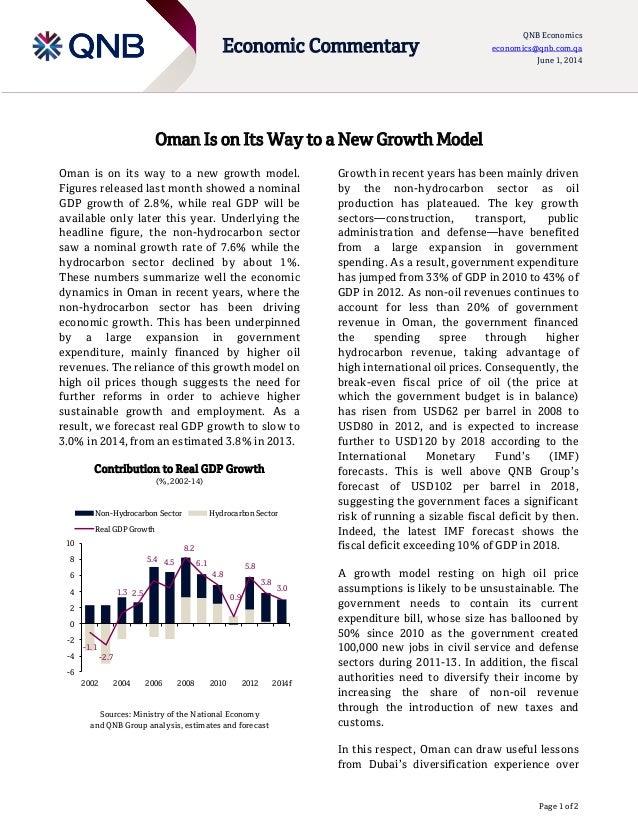 Page 1 of 2 Economic Commentary QNB Economics economics@qnb.com.qa June 1, 2014 Oman Is on Its Way to a New Growth Model O...