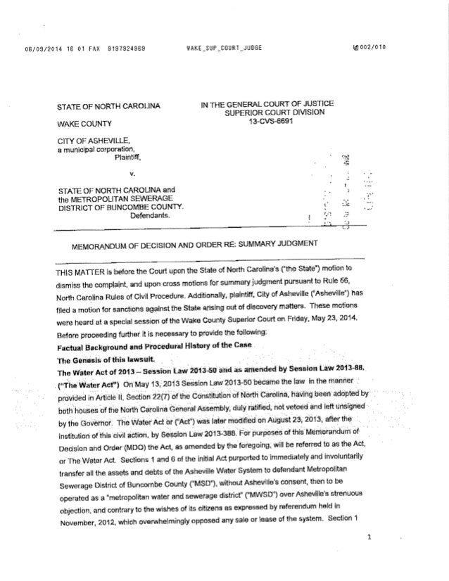 Judge Manning Decision re: The Water Act