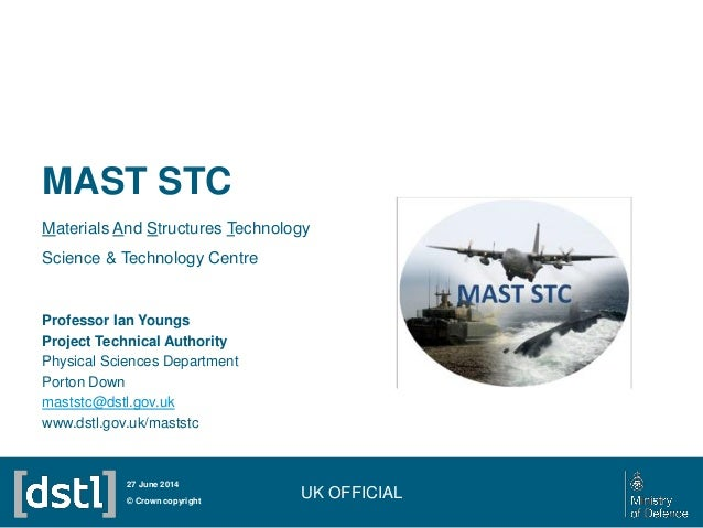 MAST STC Materials And Structures Technology Science & Technology Centre UK OFFICIAL© Crown copyright 27 June 2014 Profess...