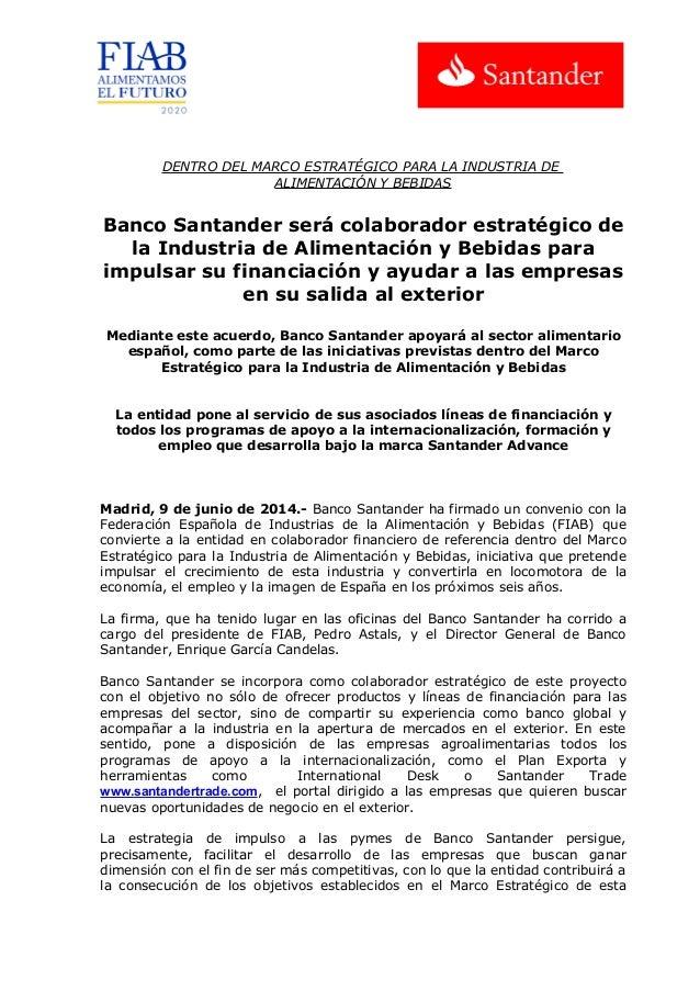 20140609 NP Banco Santander se incorpora como colaborador estrategico del marco estratégico para la industria de alimentación y bebidas