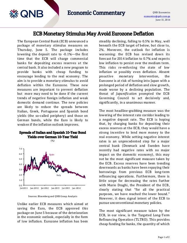Page 1 of 2 Economic Commentary QNB Economics economics@qnb.com.qa June 15, 2014 ECB Monetary Stimulus May Avoid Eurozone ...