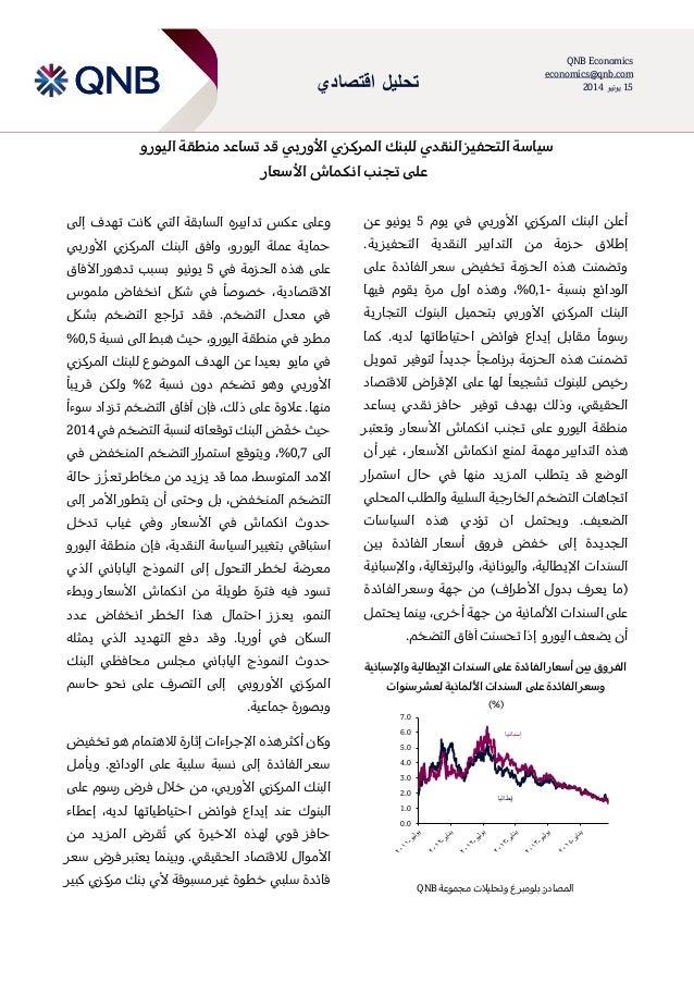 اقتصادي تحليل QNB Economics economics@qnb.com 15يونيو2014 قد بي األور المركزي للبنك النقدي التحفيز سي...