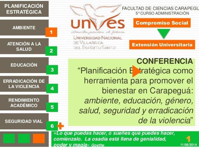 Planificación Estratégica para el bienestar en Carapegua - Extensión Universitaria