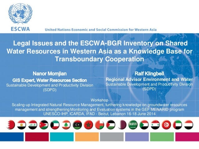 N. Momjian & R. Klingbeil, 2014. Legal Issues and the ESCWA-BGR Inventory on Shared Water Resources in Western Asia as a Knowledge Base for Transboundary Cooperation.