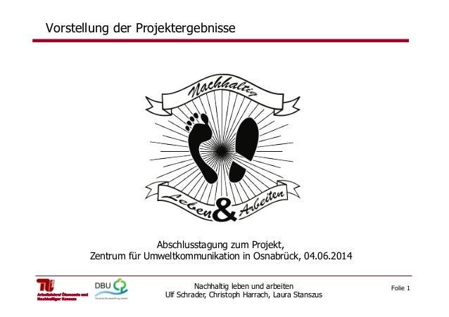 Folie 1Nachhaltig leben und arbeiten Ulf Schrader, Christoph Harrach, Laura StanszusArbeitslehre/ Ökonomie und Nachhaltige...