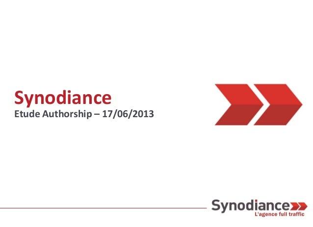 Synodiance Etude Authorship – 17/06/2013