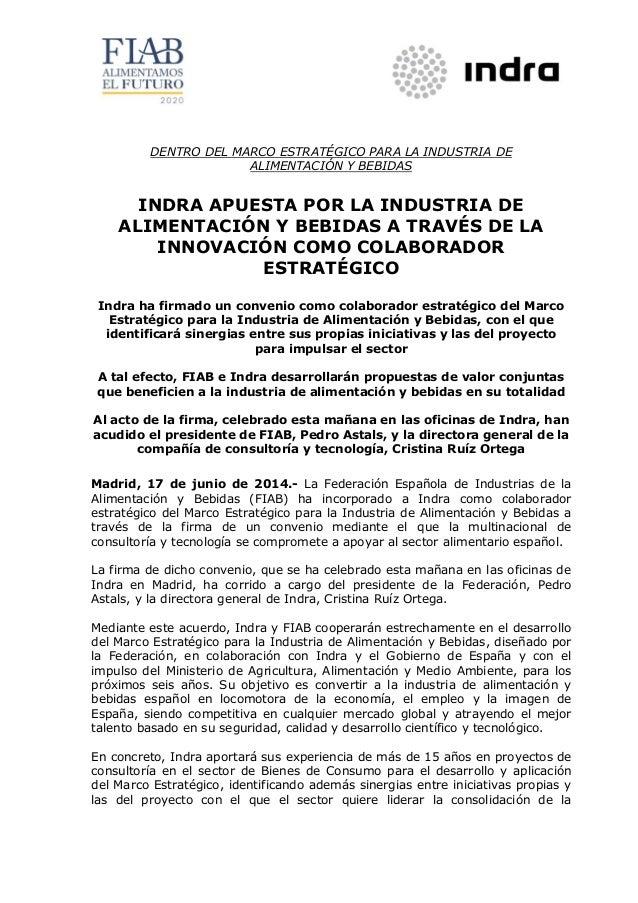 20140617 np indra apuesta por la industria de alimentación y bebidas a través de la innovación como colaborador estratégico