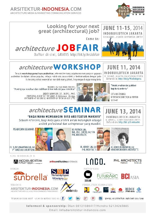 architecture WORKSHOP architecture SEMINAR Looking for your next great (architectural) job? architecture JOBFAIR