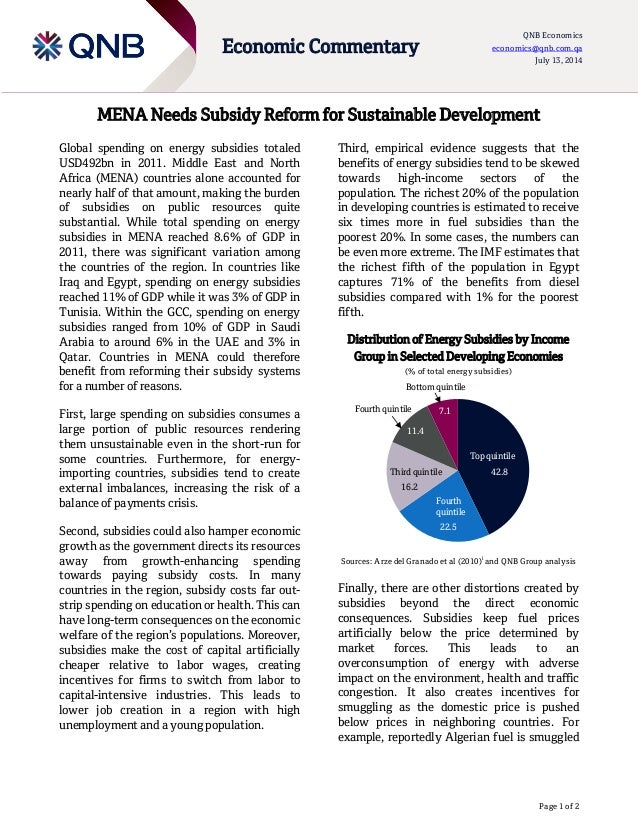 Page 1 of 2 Economic Commentary QNB Economics economics@qnb.com.qa July 13, 2014 MENA Needs Subsidy Reform for Sustainable...