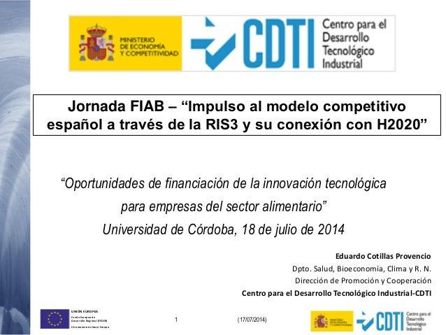 20140718 oportunidades de financiación de la innovación tecnológica