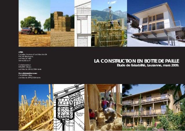 atba_l'atelier, bureau d'architectes SA_8, rue des vieux-grenadiers_genève LA CONSTRUCTION EN BOTTE DE PAILLE Étude de fai...
