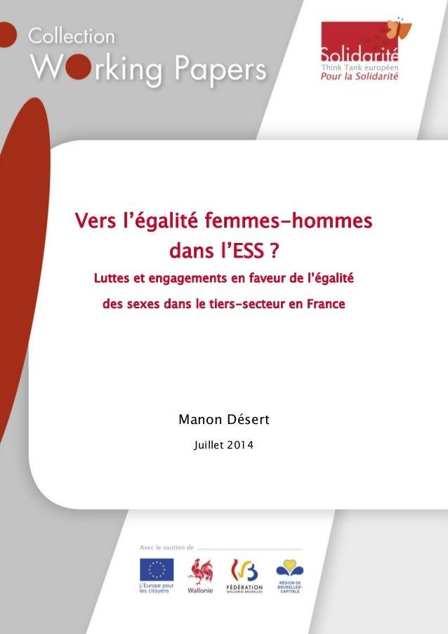 """1 Vers l""""égalité femmes-hommes dans l""""ESS ? Luttes et engagements en faveur de l""""égalité des sexes dans le tiers-secteur e..."""