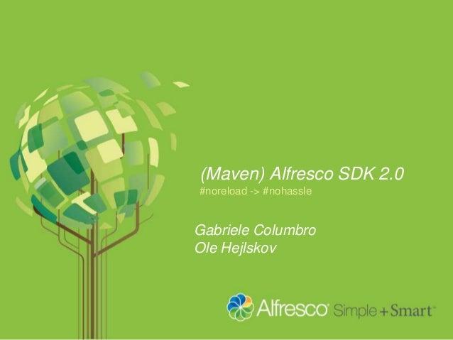 (Maven) Alfresco SDK 2.0 #noreload -> #nohassle Gabriele Columbro Ole Hejlskov