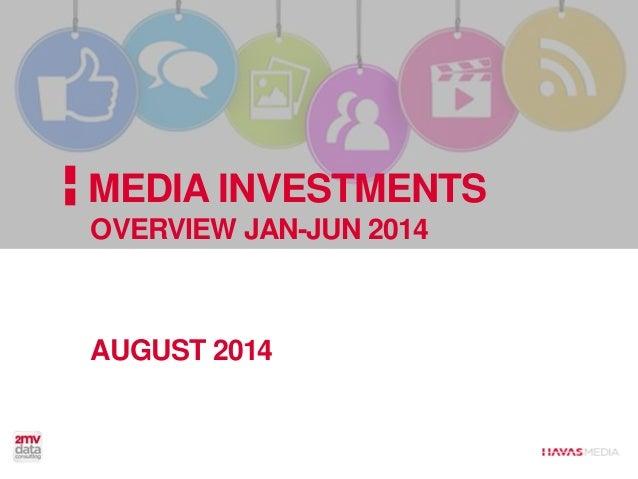 Jan-June 2014 vs Jan-June 2013 MDB Investments: +3% - P&G investments drop; -34%