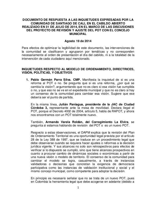 1  DOCUMENTO DE RESPUESTA A LAS INQUIETUDES EXPRESADAS POR LA COMUNIDAD DE SANTIAGO DE CALI, EN EL CABILDO ABIERTO REALIZA...