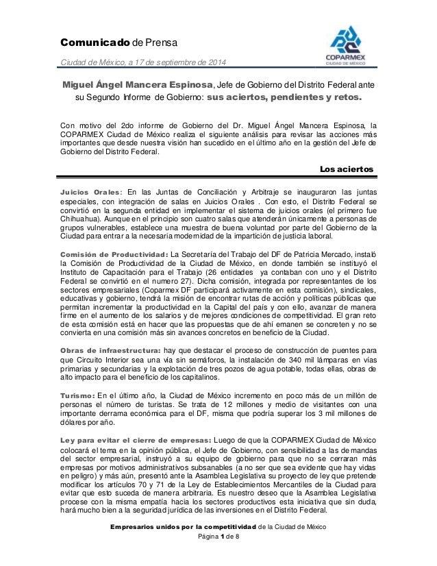 Comunicado de Prensa  Ciudad de México, a 17 de septiembre de 2014  Miguel Ángel Mancera Espinosa, Jefe de Gobierno del Di...