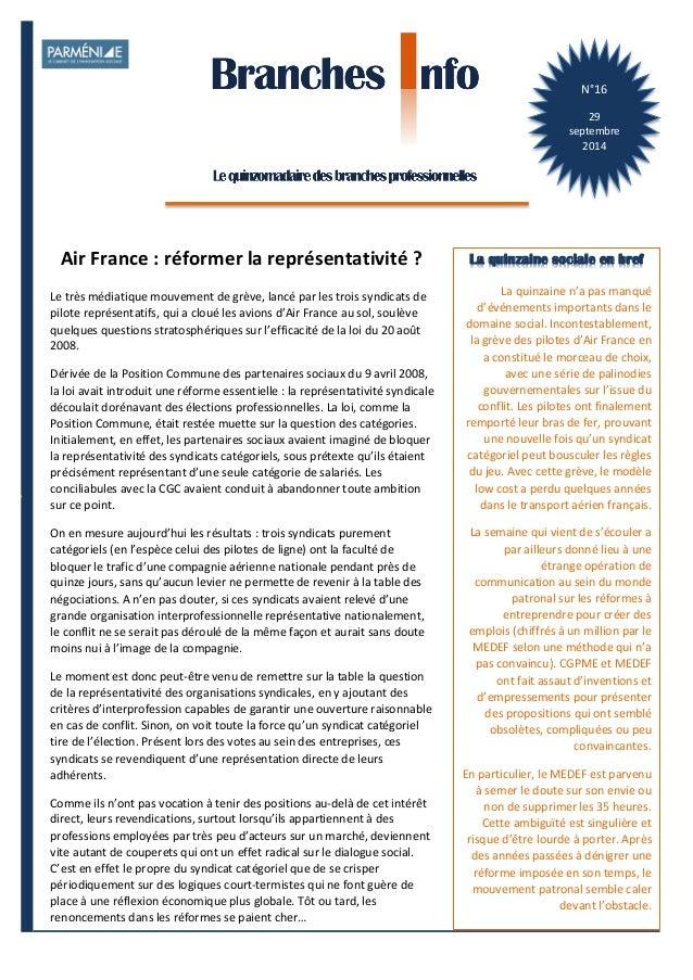 1  Branches Info est une publication de Parménide  N°16  29  septembre  2014  La quinzaine sociale en bref  La  quinzaine ...