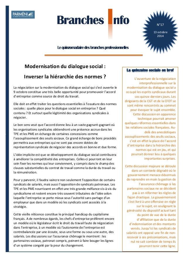 1  Branches Info est une publication de Parménide  N°17  13  octobre  2014  La quinzaine sociale en bref  L'ouverture  de ...