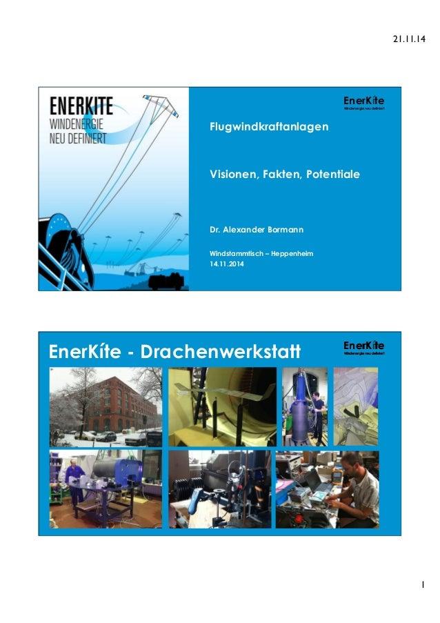 21.11.14  1  EnerKíte  Windenergie neu definiert  Flugwindkraftanlagen  Visionen, Fakten, Potentiale  Dr. Alexander Borman...