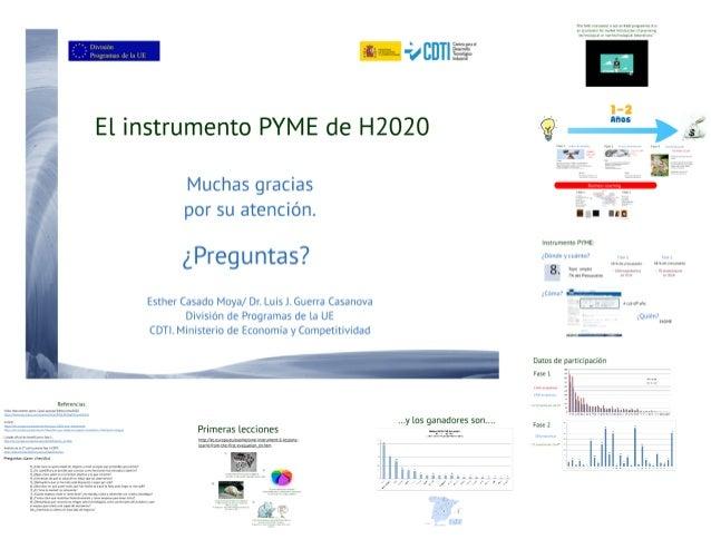 """_ .  arrasan ¿Kgz  u ¿'gig * - 4        El instrumento PYME de H2020 7Q    Muchas gracias   por su atención.  F a """"m  ¿ P ..."""