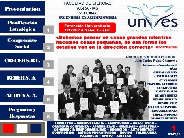 FACULTAD DE CIENCIAS  AGRARIAS  5° CURSO  INGENIERÍA EN AGROINDUSTRIA  Presentación  Planificación  Estratégica  Compromis...