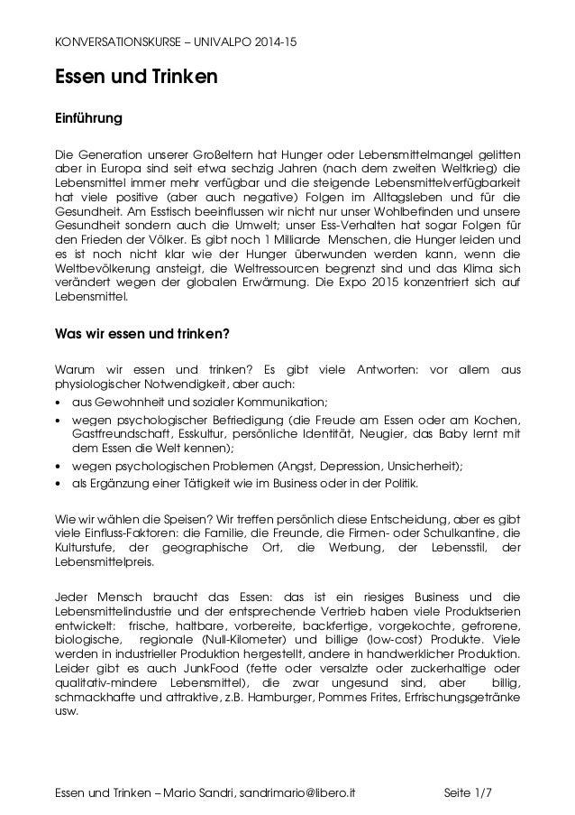 KONVERSATIONSKURSE – UNIVALPO 2014-15 Essen und Trinken – Mario Sandri, sandrimario@libero.it Seite 1/7 Essen und Trinken ...
