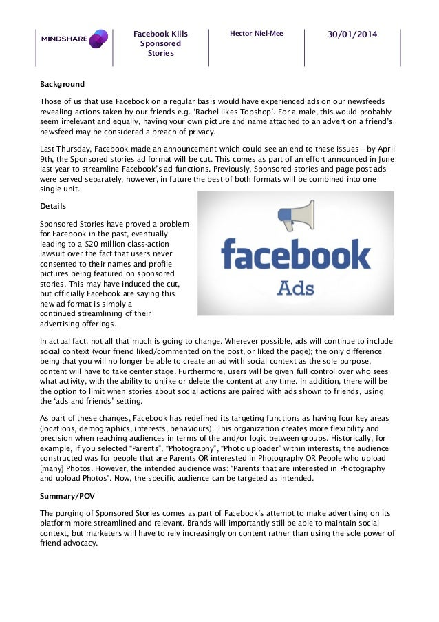 Facebook Kills Sponsored Stories  Hector Niel-Mee  30/01/2014  Background Those of us that use Facebook on a regular basis...