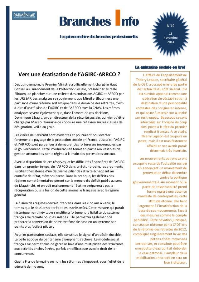 1  Branches Info est une publication de Parménide  Branches Info  Le quinzomadaire des branches professionnelles  N°19  18...