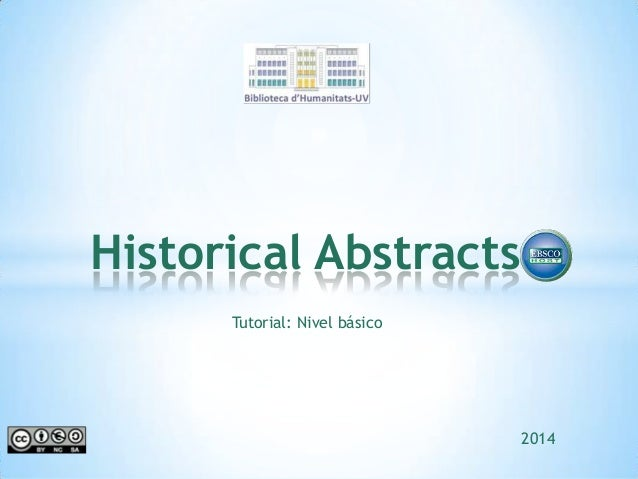 Historical Abstracts Tutorial: Nivel básico  2014