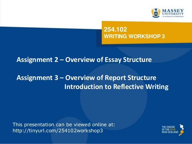 254.102 WRITING WORKSHOP 3 Assignment 2 – Overview of Essay Structure Assignment 3 – Overview of Report Structure Introduc...