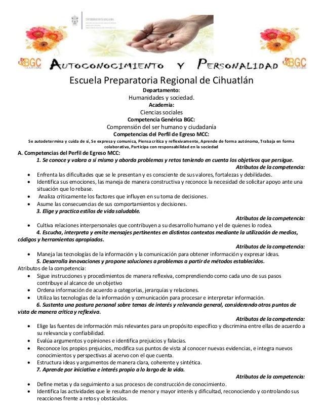 Escuela Preparatoria Regional de Cihuatlán Departamento: Humanidades y sociedad. Academia: Ciencias sociales Competencia G...