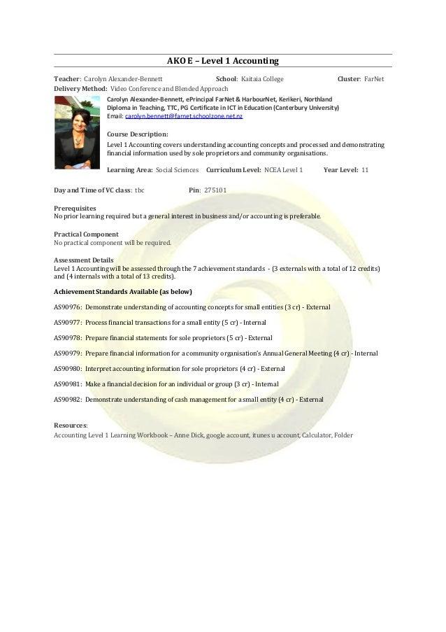 AKO E – Level 1 Accounting Teacher: Carolyn Alexander-Bennett School: Kaitaia College Cluster: FarNet Delivery Method: Vid...